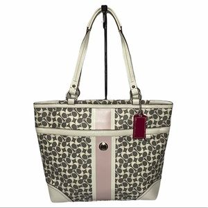 Coach Chelsea Heritage Gray White Leather Tote